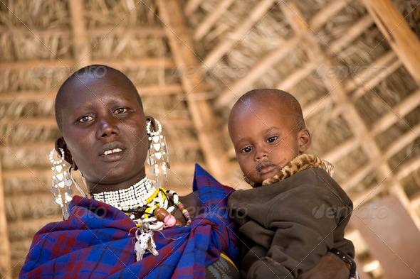 portrait of a masai mother and his son - Stock Photo - Images