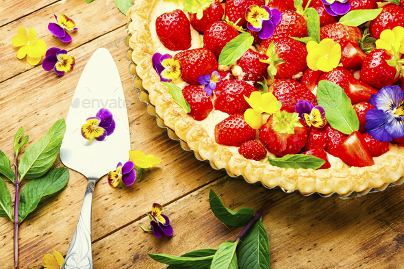 Open summer pie or cake with berries - Stock Photo - Images