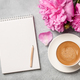 Hot coffee, peony flowers and notebook - PhotoDune Item for Sale
