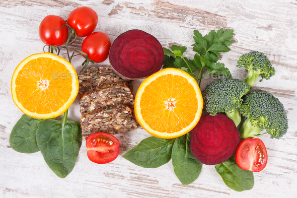 Nutritious products containing vitamin B9 and dietary fiber, healthy nutrition - Stock Photo - Images