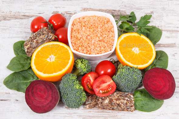 Healthy nutritious food as source folic acid, minerals, vitamin B9 and dietary fiber - Stock Photo - Images
