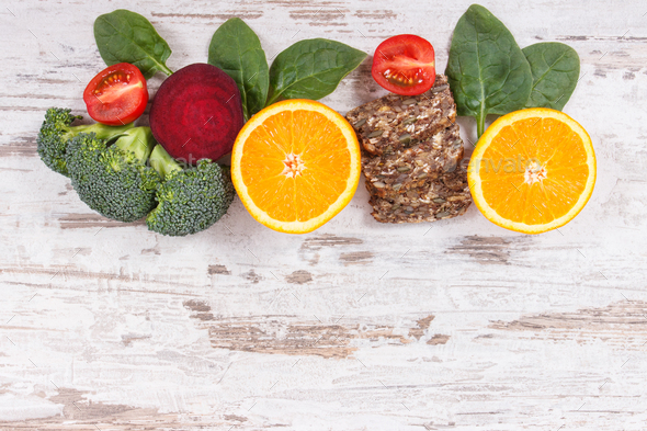 Nutritious products containing vitamin B9 and dietary fiber, healthy nutrition concept - Stock Photo - Images