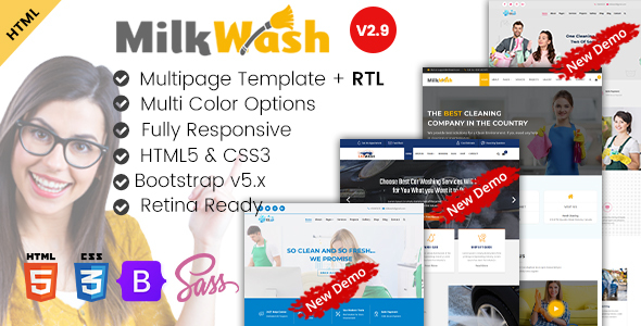 Cleaning Service Company HTML Template - MilkWash