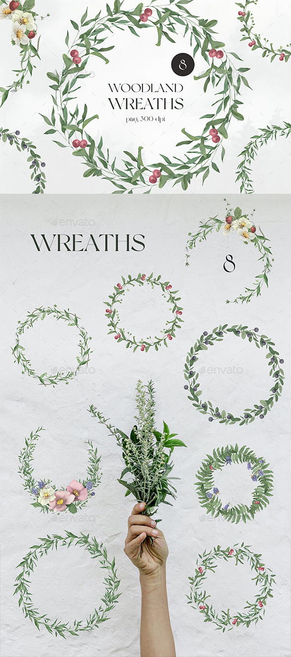 Watercolor Woodland Wreaths