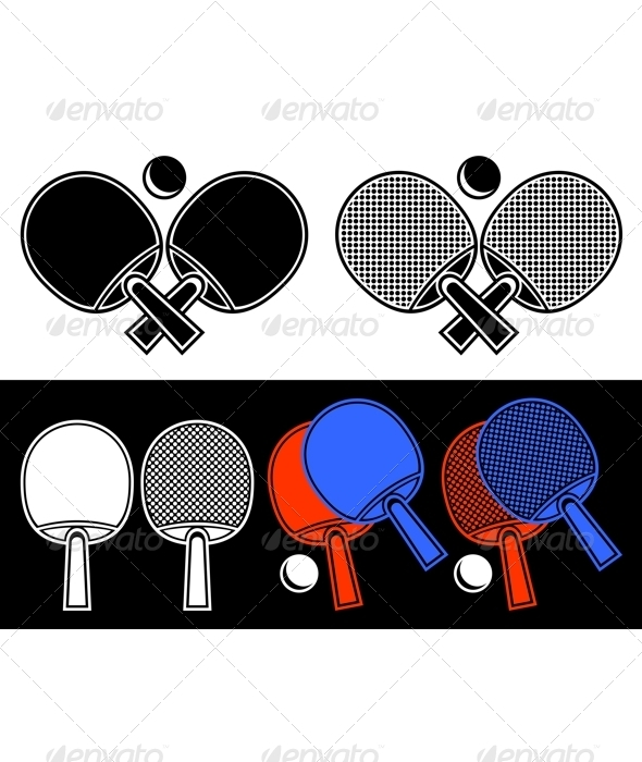 Rackets for table tennis. - Sports/Activity Conceptual