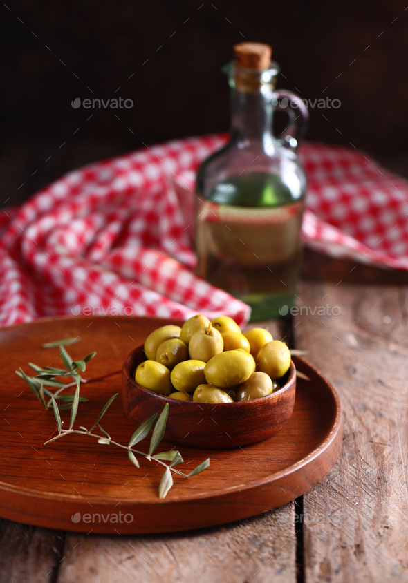 Green Organic Olives - Stock Photo - Images