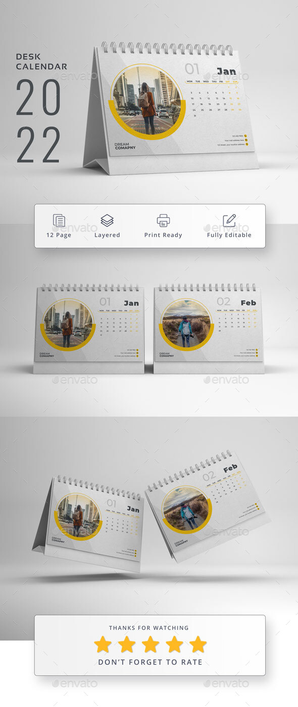2022 Desk Calendar Template