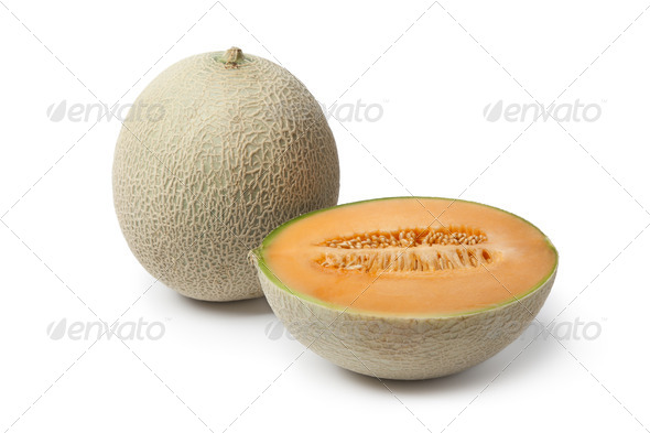 Whole and half Cantaloupe melon - Stock Photo - Images