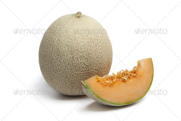 Whole Cantaloupe melon with a slice - Stock Photo - Images