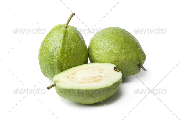 Whole and half fresh guava - Stock Photo - Images