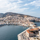 Syros island, Hermoupolis cityscape and port aerial drone view. Greece, Cyclades. - PhotoDune Item for Sale