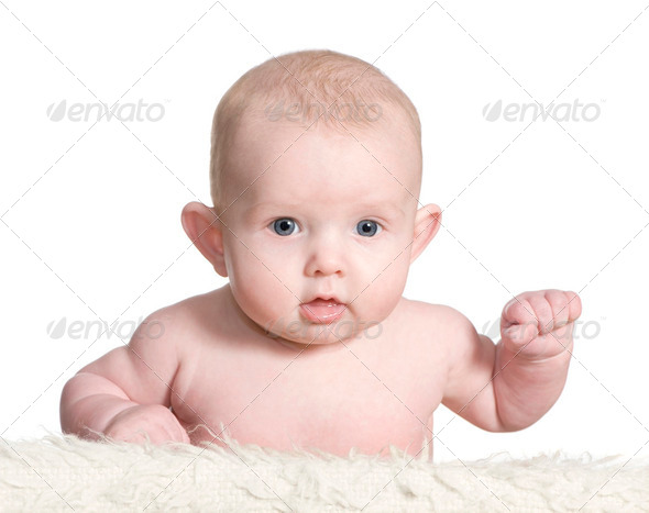 Baby lying down - Stock Photo - Images