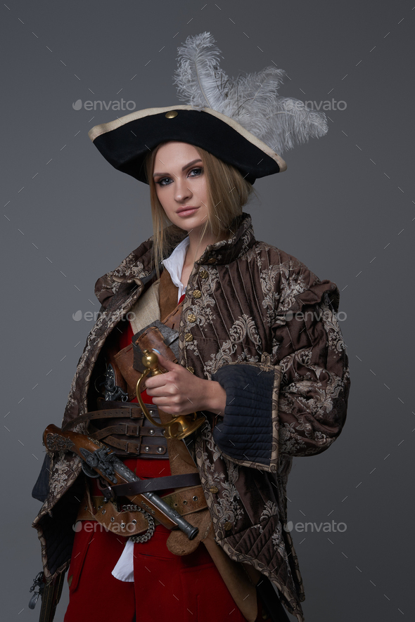 Woman corsair captain with hat and handgun - Stock Photo - Images
