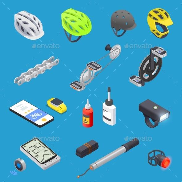 Cycling Equipment Icon Set