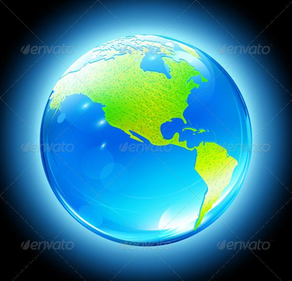 Glossy Earth Globe   - Conceptual Vectors