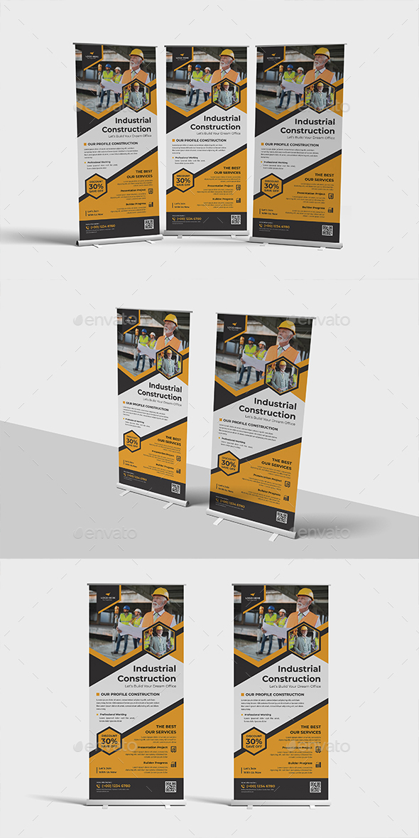 Industry Construction Roll-up Banner Template