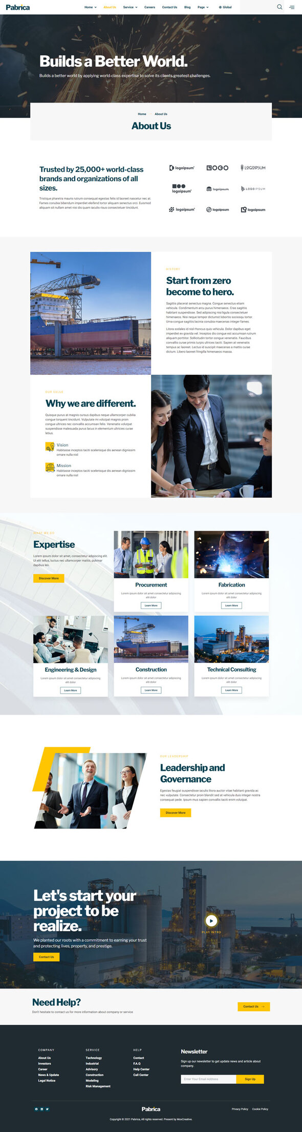 Pabrica - Engineering & Industrial Service Elementor Template Kit