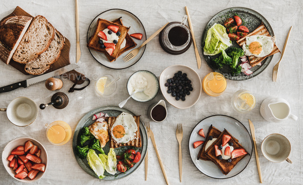 Breakfast or gathering dinner for friends and family - Stock Photo - Images