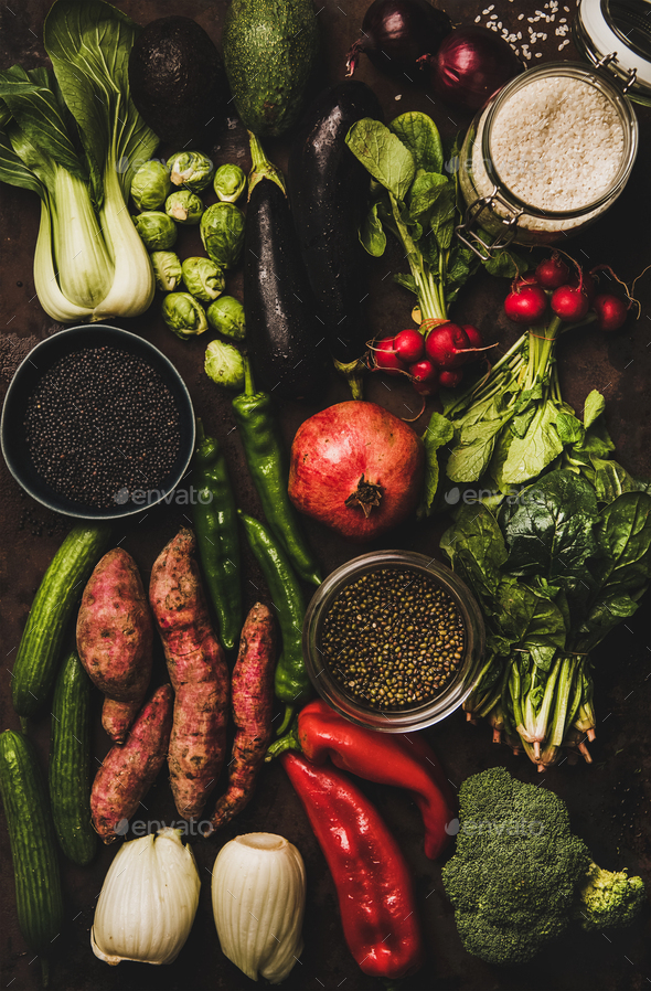 Vegetables, grains, greens and fruit for healthy diet, vertical composition - Stock Photo - Images