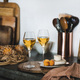 Two glasses of Trendy Orange or Amber wine and appetizers - PhotoDune Item for Sale