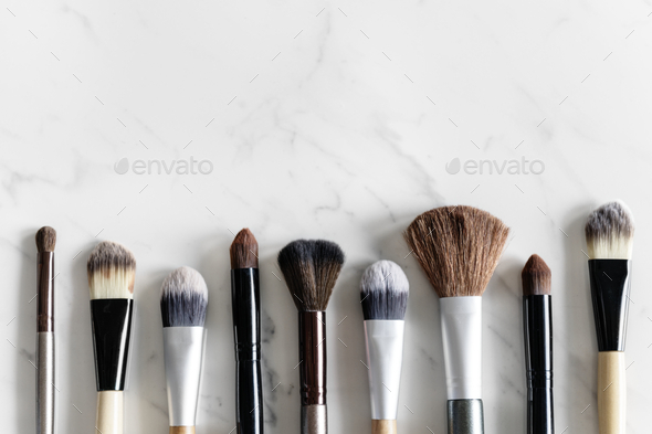 Aerial view of various brushes - Stock Photo - Images