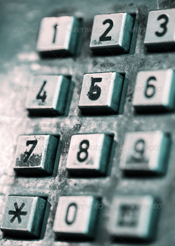 Buttons of an old-style public phone. - Stock Photo - Images