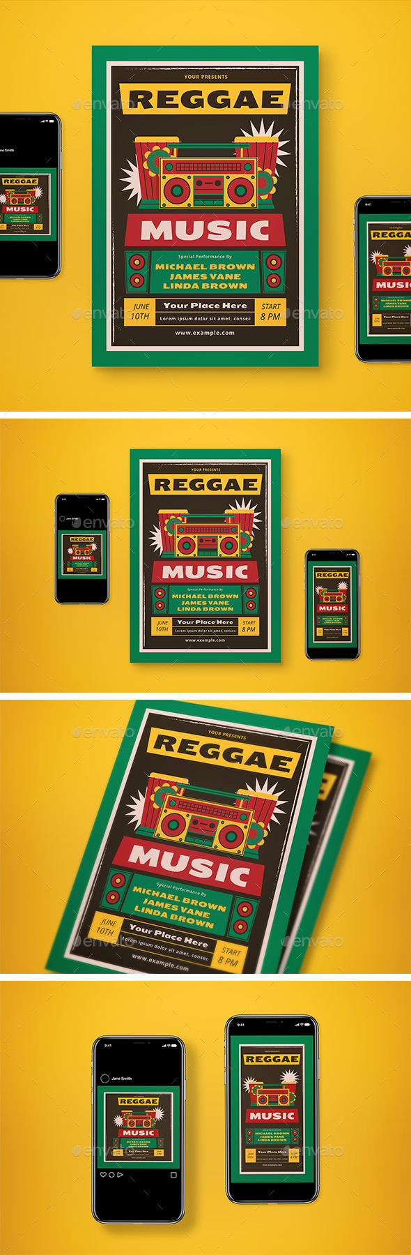 Retro Reggae Music Flyer Set