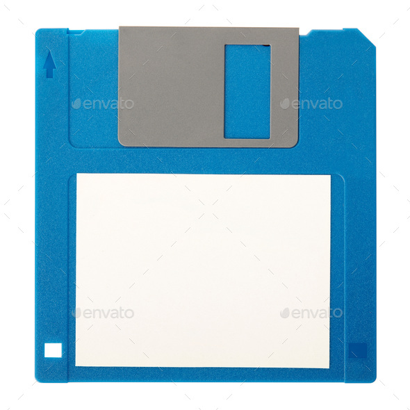 Blue floppy disk with blank label isolated on white background, clipping path - Stock Photo - Images