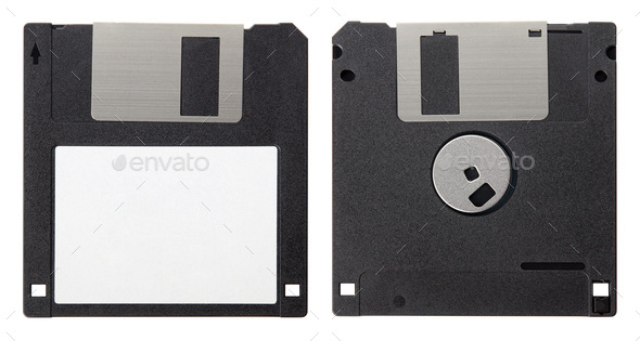 Black floppy disk, front and back with blank label isolated on white background, clipping path - Stock Photo - Images
