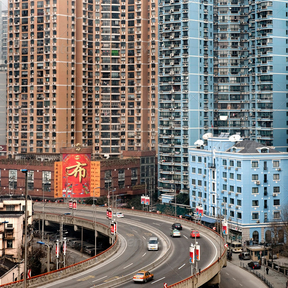 Urban highway in Shanghai - Stock Photo - Images