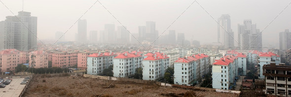 air pollution over the town - Stock Photo - Images