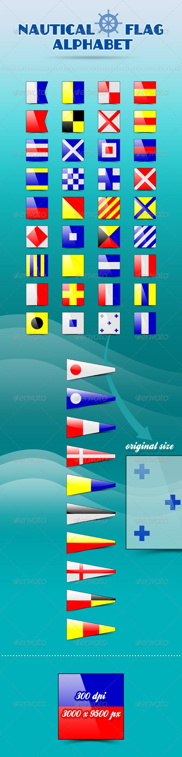 Nautical Flag Alphabet - Decorative Symbols Decorative