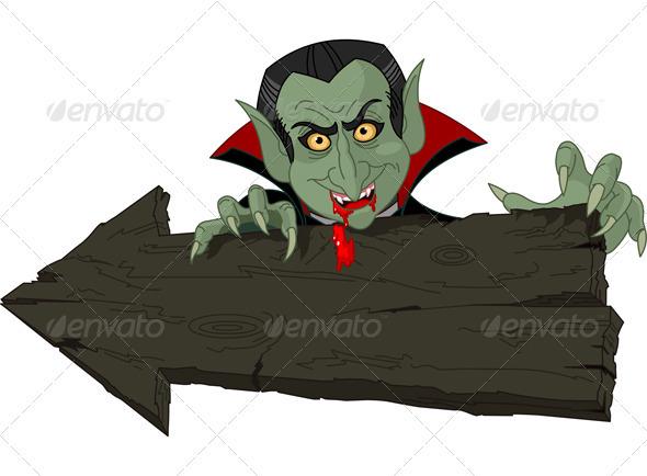 Dracula over Halloween arrow - Halloween Seasons/Holidays