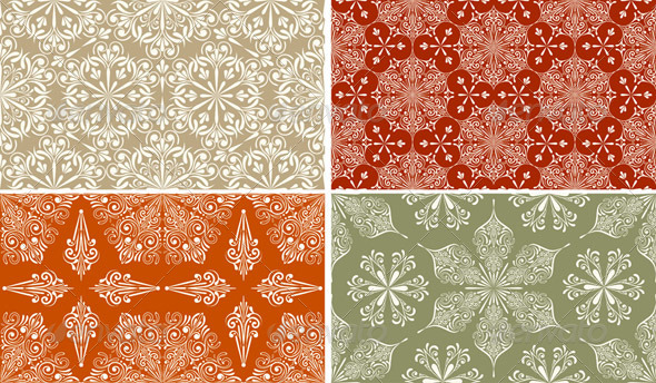 4 Vector Seamless Winter Patterns with  Snowflakes - Patterns Decorative