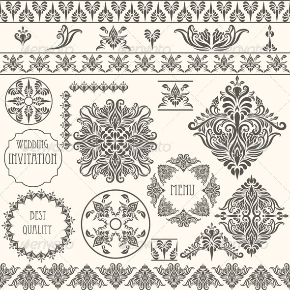 Vector Vintage Design Elements - Patterns Decorative