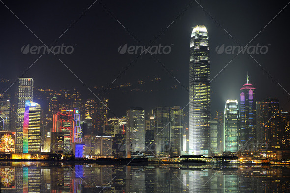 Night scene of Hong Kong, you can see the pollution - Stock Photo - Images