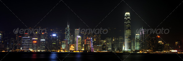 Hong Kong by night - Stock Photo - Images