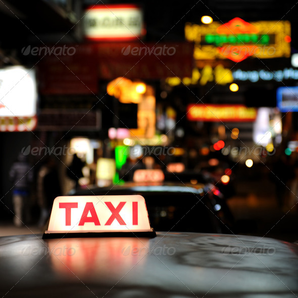 Taxi sign - Stock Photo - Images