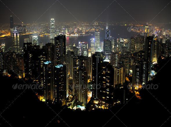 Hong Kong by night - Stock Photo - Images