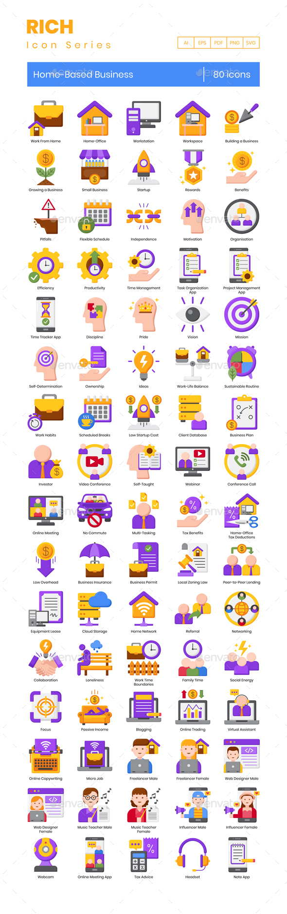 80 Home-Based Business Icons   Rich Series