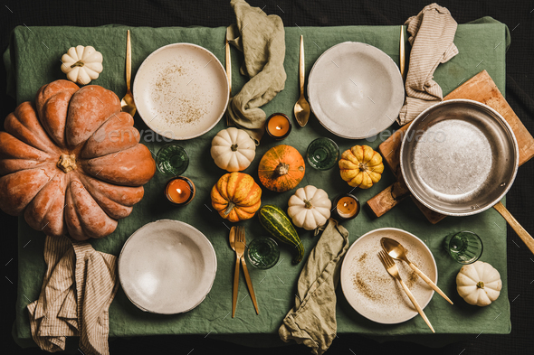 Autumn seasonal table setting for family dinner or friends gathering - Stock Photo - Images