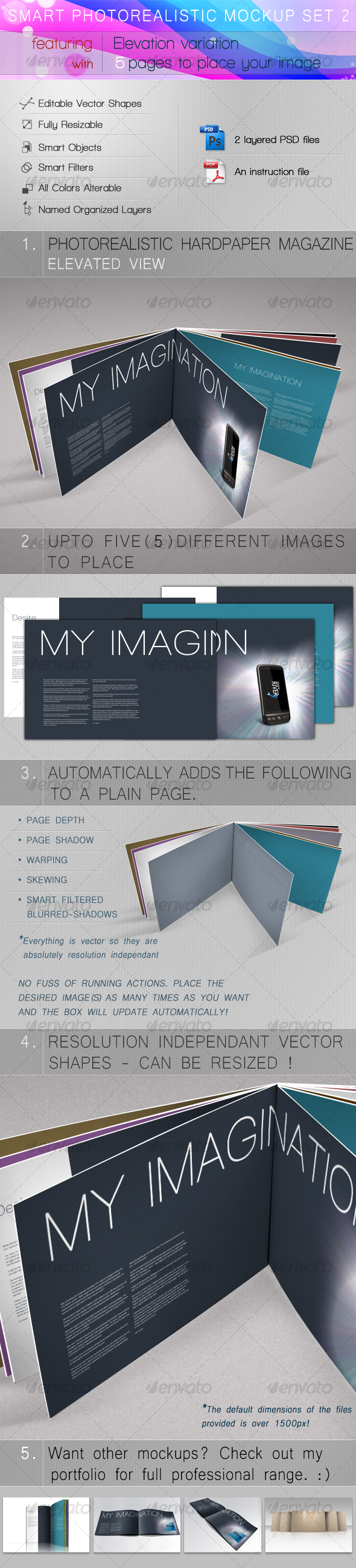 Smart Photorealistic Mockup Set 2 - Magazines Print