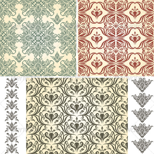 2 Vector Seamless  Patterns and 2 Retro Brushes - Patterns Decorative