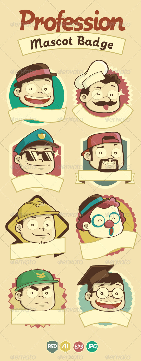 Profession Badge & Mascots - Characters Vectors