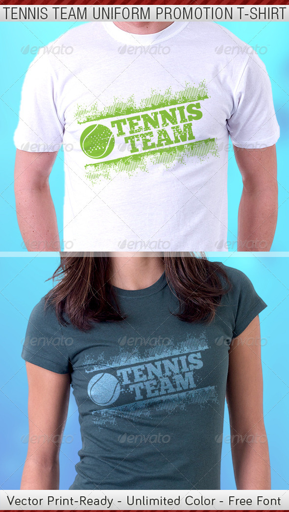 Tennis Team Uniform T-Shirt Template - Sports & Teams T-Shirts