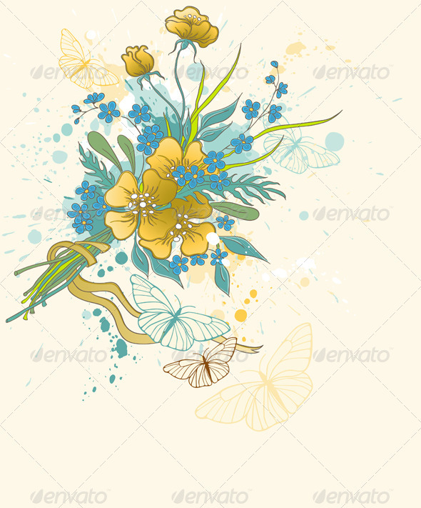 Floral Background with Bouquet - Flowers & Plants Nature
