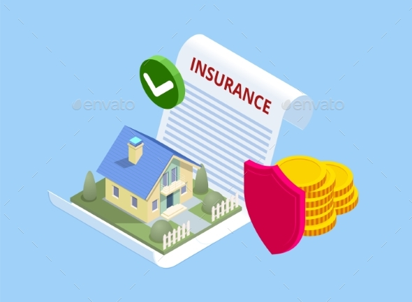 Isometric House Insurance Policy Concept