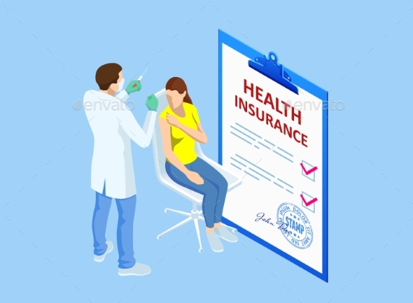 Isometric Health Insurance Concept