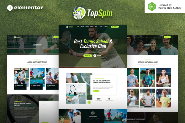 TopSpin – Tennis School & Sports Club Elementor Template Kit