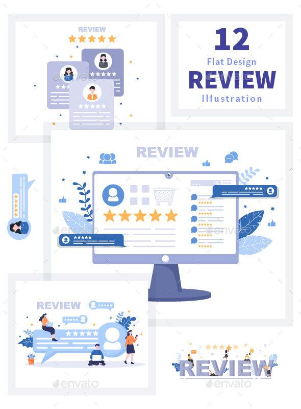12 Review Customer Giving Star Illustration